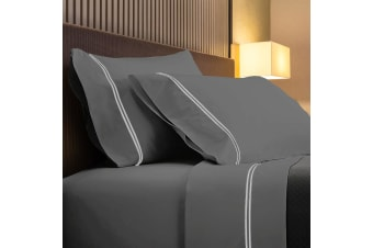 Renee Taylor 1000TC Sorrento Sheet Set Cotton Soft Touch Hotel Quality Bedding - Queen - Coal