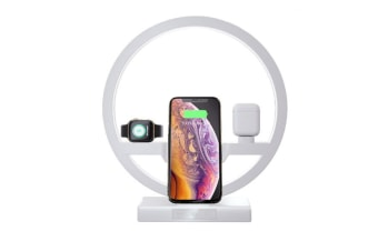 WJS 3 In 1 Wireless Charger Watch Charger with led light For iPhone/ipod/Apple Watch-WHITE