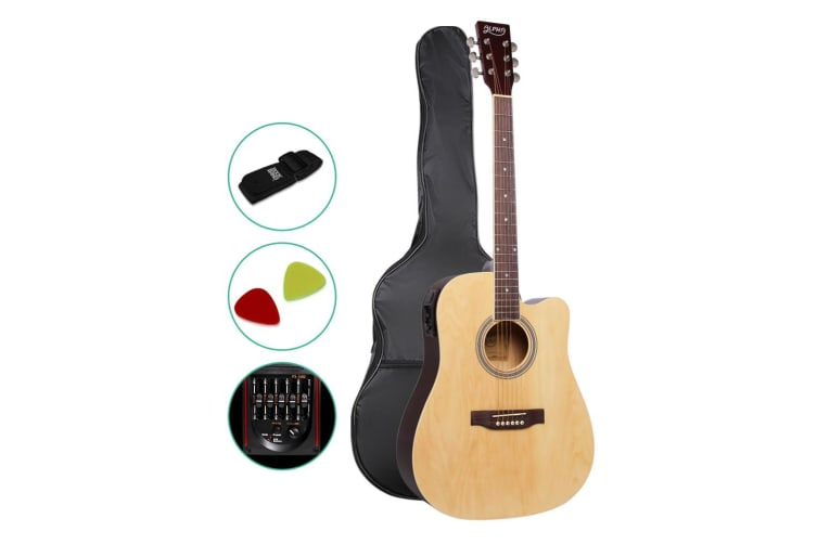 Alpha 41 Inch 5 Band EQ Electric Acoustic Guitar Full Size - Natural