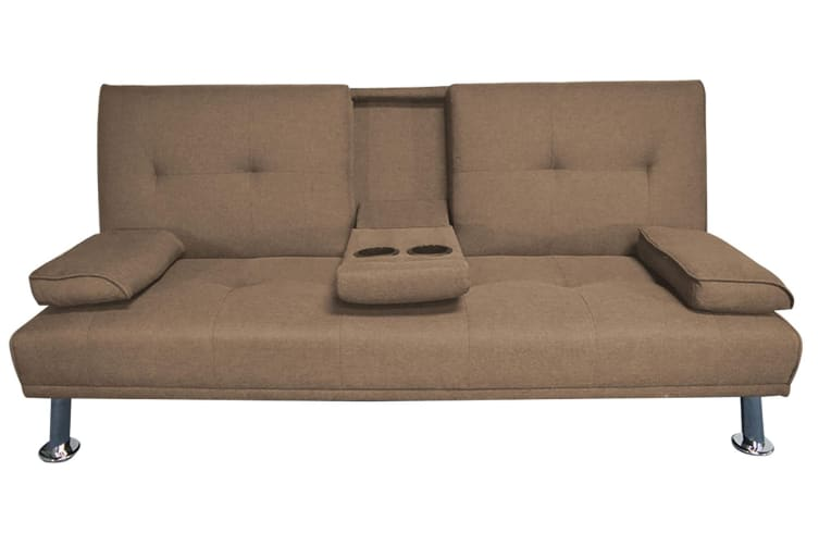Hela 3 Seater Sofa Bed W/ 2 Cup Holder   Brown