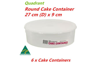 6 x Round Cake Container 27x9cm Plastic Storage Box Freezer Safe Pastry Tray Holder