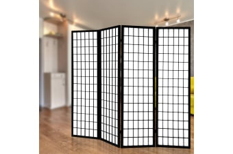 Artiss 4 Panel Wooden Room Divider - Black