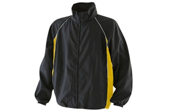 Finden & Hales Kids Unisex Piped Showerproof Training Jacket / Outerwear Sports (Black/Yellow/White) (7-8)