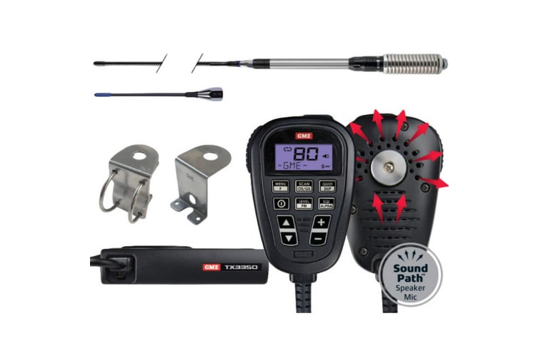 GME TX3350UVP TX3350 Ultimate Value Pack Compact UHF CB Radio LCD SoundPath Speaker mic