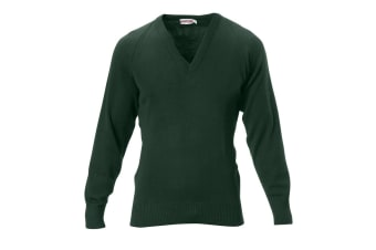 Hard Yakka Men's Wool/Acrylic V-Neck Jumper (Bottle Green, Size M)