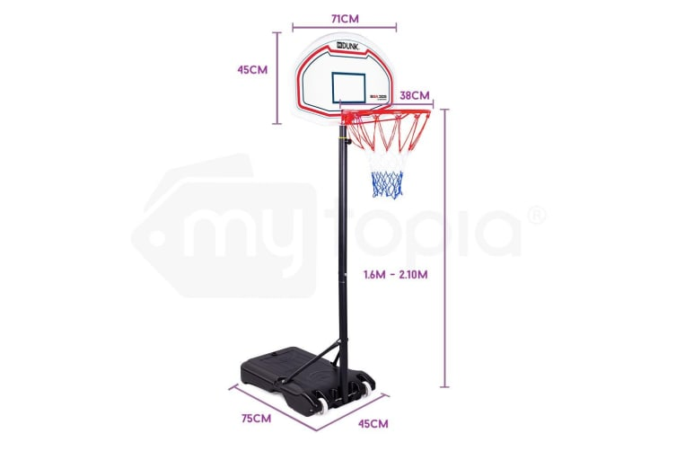 Dr.Dunk Basketball Hoop Stand System Kids Height Adjustable Portable Net Ring