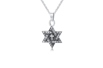 Stainless Steel Gold Plated Six Awn Star Pendant Necklace - Silver Silver Pendant+Chain
