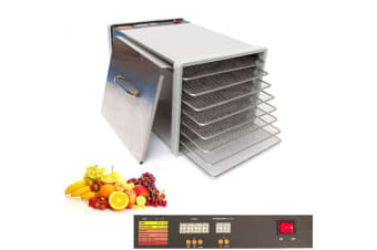 8 Tray Stainless Steel Food Fruit Dehydrator with Stainless Steel Trays