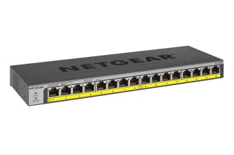 Netgear 16-Port PoE/PoE+ Gigabit Ethernet Unmanaged Switch with 183W PoE Budget, Rack-mount or Wall-mount (GS116PP)