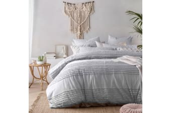 Betty Silver Washed Cotton Quilt Cover Set by Vintage Homewares Designs