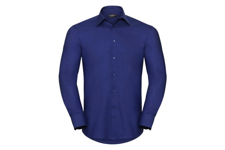 Russell Collection Mens Long Sleeve Easy Care Tailored Oxford Shirt (Bright Royal) (18inch)