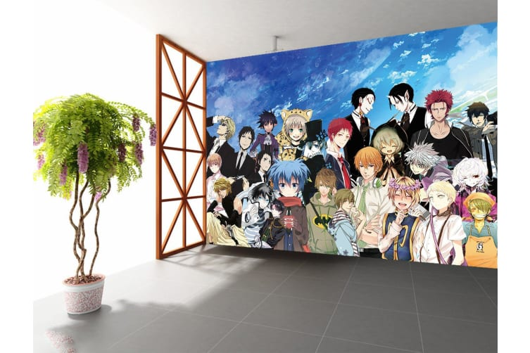 3D Crowd Modeling 66 Anime Wall Murals Woven paper (need glue), XL 208cm x 146cm (WxH)(82''x58'')