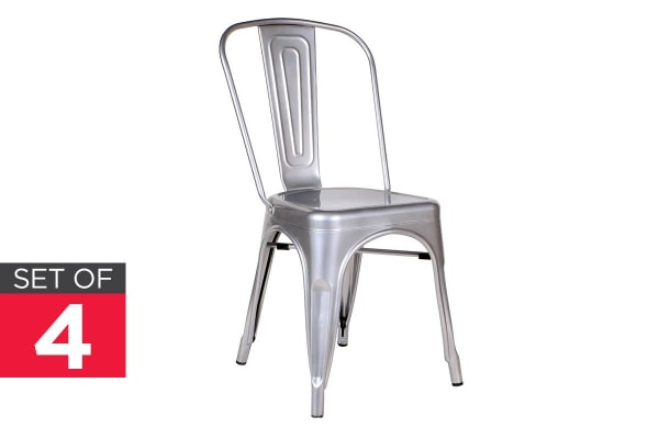 Ovela Set of 4 Tolix Replica Dining Chairs (Silver)