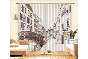 3D Hand Painted City 332 Curtains Drapes, 264cmx160cm(WxH) 104''x 63''