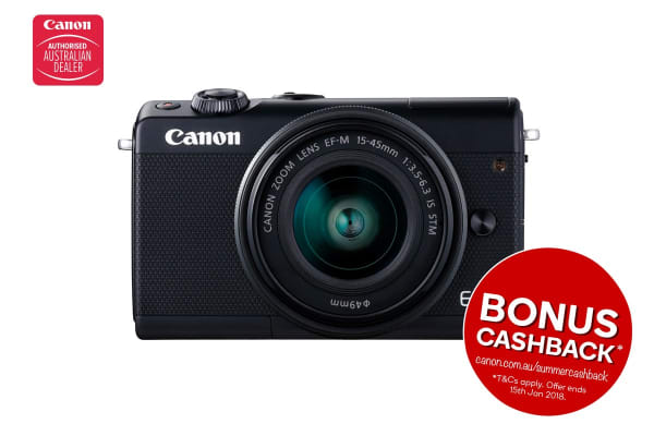 Canon EOS M100 Mirrorless Camera with EFM15-45mm ISST Lens (M100KISB) and BONUS Blue Stripe Camera Jacket