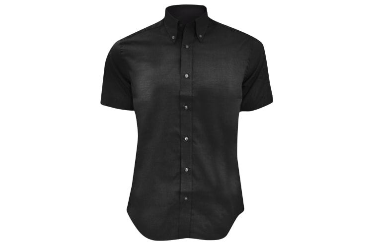 Kustom Kit Mens Short Sleeve Tailored Fit Premium Oxford Shirt (Black) (18.5inch)