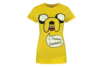Adventure Time Womens/Ladies Jake I Choose Sandwich T-Shirt (Yellow)