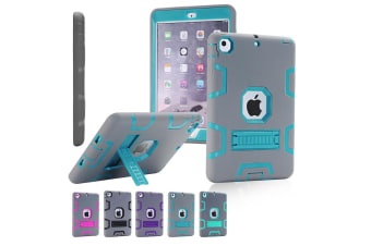 Kids Shockproof Case Heavy Duty Tough Kick Stand Cover For iPad Air 2-Type3-BlueGrey