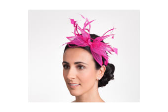 Hawkins Collection Womens/Ladies Open Bow And Thin Feather Detail Fascinator (Raspberry) (One Size)