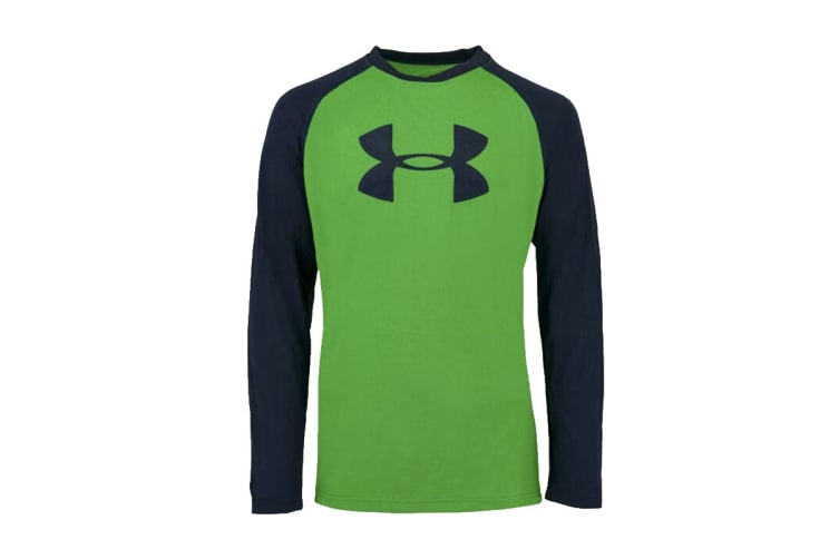 Under Armour Boys' UA Tech Two-Tone Big Logo L/S Shirt (Green/Navy, Size XS)