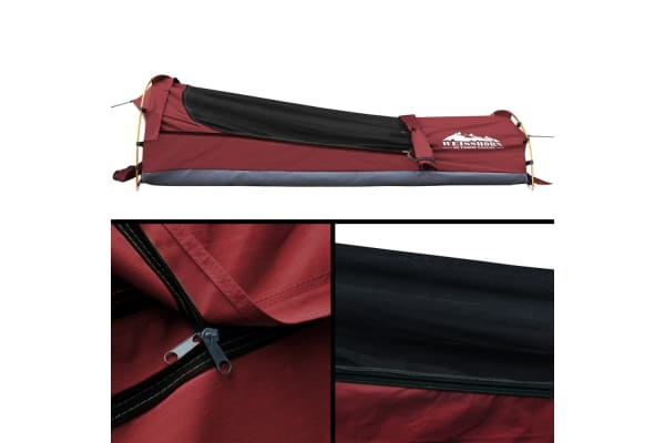 Single Camping Canvas Swag with Bag (Red)