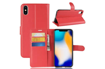 For iPhone XS MAX Cover Folio Lychee Flip Leather Wallet Mobile Phone Case Red