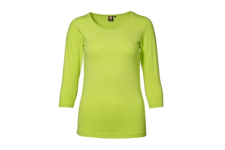 ID Womens/Ladies 3/4 Sleeve Stretch Fitted T-shirt (Lime) (S)