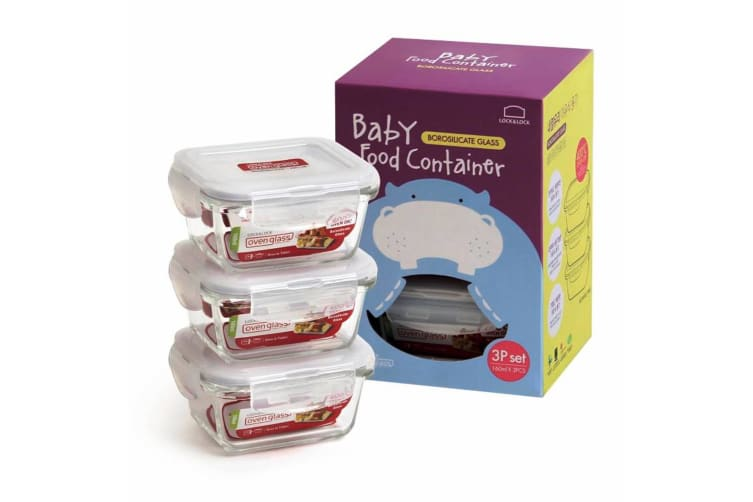 Lock & Lock Euro Glass Baby Food Container Set 3 - 160ml