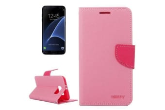 For Samsung Galaxy S7 EDGE Wallet Case Cross Texture Durable Leather Cover Pink