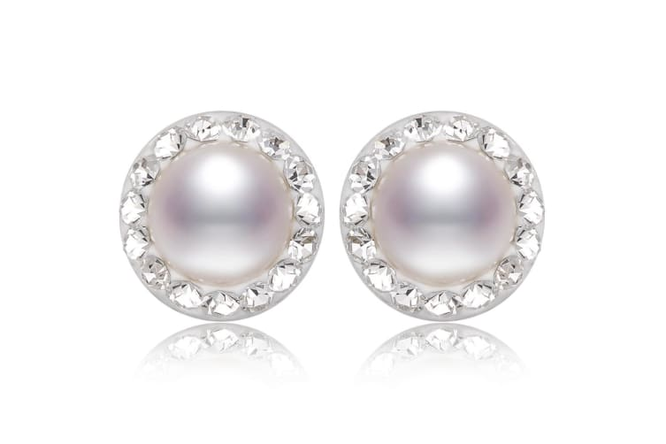 .925 Pearl White Stud Earrings-Silver/Pearl White