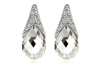 Gizelle Earrings w/Swarovski Crystals-White Gold/Clear