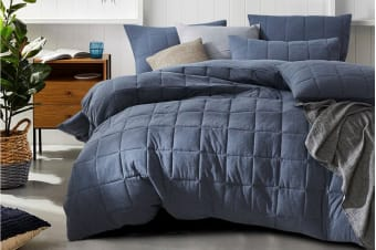 Gioia Casa Quilted Jersey Quilt Cover (King/Blue Ash)