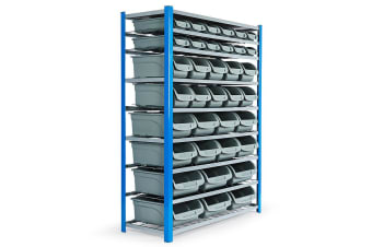 36 BIN Storage Shelving Tools Parts Rack Shelf Garage Workshop Metal 8 Tier