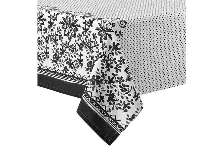 Ladelle Watercolour Floral Tablecloth -  Black 2.65m