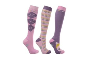 HyFASHION Childrens/Kids Little Unicorn Socks (Pack of 3) (Powder Pink/Dusty Lilac/Sap Green)