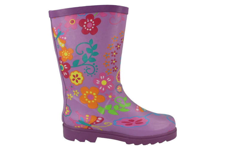 Spot On Childrens Girls Floral Rubber Wellington Boots (Purple) (10 Child UK)