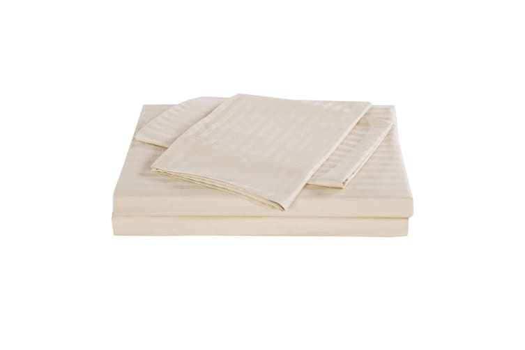 Kensington 1200 Thread Count 100% Egyptian Cotton Sheet Set Stripe Hotel Grade - Single - Sand