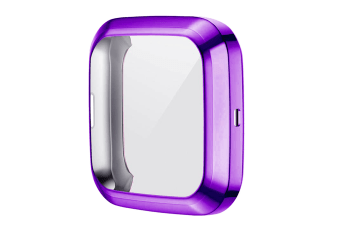 Select Mall TPU Shell Case Screen Protector Frame Cover Bumper for Fitbit Versa 2 Watch TPU Protect Protective Durable Housing-Purple