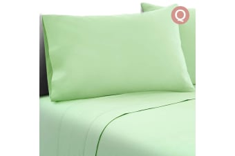 4 Piece Microfibre Sheet Set (Queen/Green)