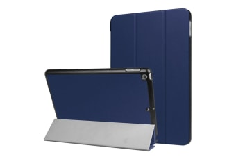 For iPad 2018 2017 9.7in Case Karst Textured 3-fold Leather Cover Dark Blue