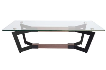 Delta Collection | Rectangular Glass Coffee Table | Matte Black & Walnut