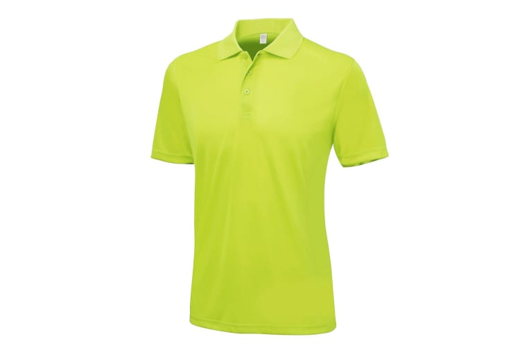 AWDis Just Cool Mens Smooth Short Sleeve Polo Shirt (Lime) (XS)