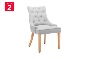 Shangri-La Set of 2 French Provincial Ariel Dining Chairs (Grey Linen)