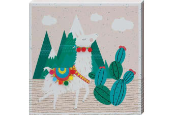 Grindstore Cacti Llama Canvas Print (Brown) (One Size)