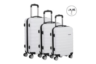 Wanderlite 3 Piece Luggage Trolley Set (White)