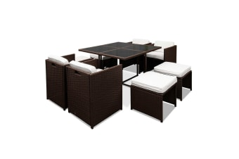 Hawaii Dining 9 Seater Set (Brown/White)