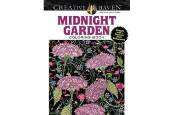 Creative Haven Midnight Garden Coloring Book - Heart & Flower Designs with a Dramatic Black Background