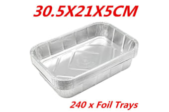 240 x Aluminum Foil Trays BBQ Disposable Roasting Oven Baking Tray Party 30.5X21X5CM