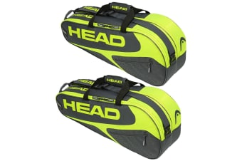 2PK Head Elite Tennis 6R Combi Carry Sports Bag f/ Racquet/Racket GRY/Neon YL