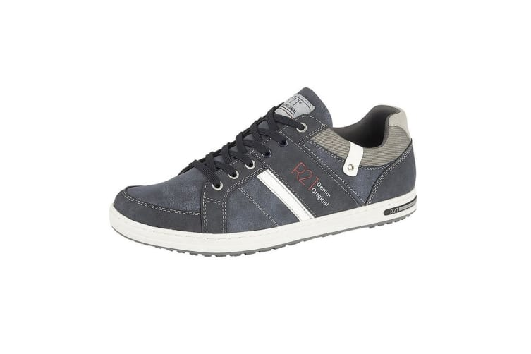 Route 21 Mens Denim Original Lace Up Casual Trainers (Navy) (12 UK)